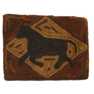Primitive Horse 16-Inch Hooked Wool Throw Pillow
