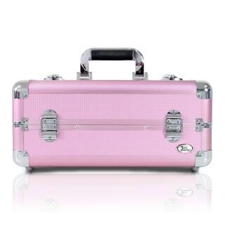 Jacki Design Light Pink Aluminum 6-inch Carry-on Makeup Case