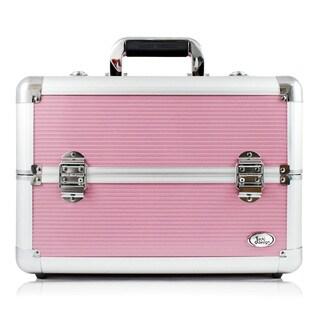 Jacki Design Aluminum Make Up Train Case with Adjustable Dividers (Pink)