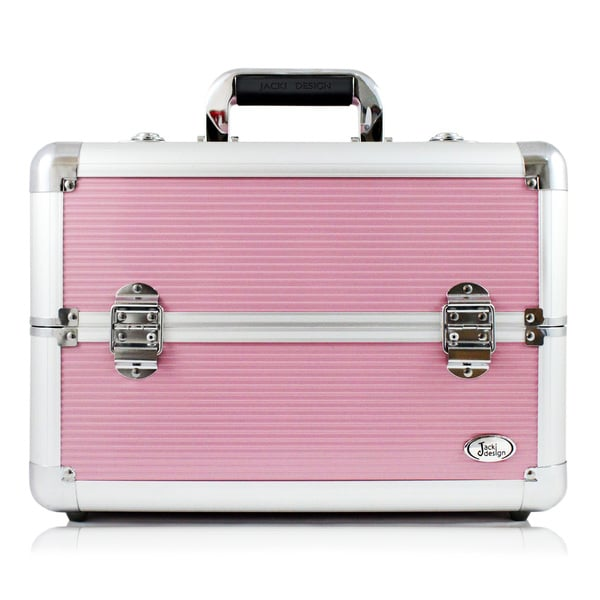 Jacki Design Aluminum Make Up Train Case with Adjustable Dividers (Pink)