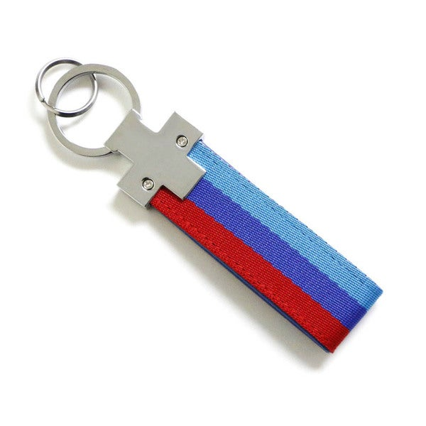 iJDMTOY M-Colored Triple Stripe Nylon Band with Inner Leather Key Chain Ring For BMW