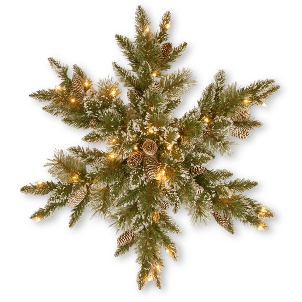 "32"" Glittery Bristle Pine Snowflake with Clear Lights"