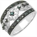Malaika .925 Sterling Silver 0.28 Carat Genuine Blue Diamond Ring