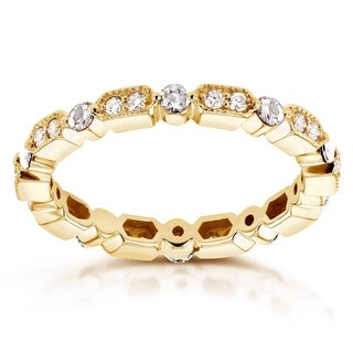 Annello 14k Yellow Gold 1/2ct TDW Diamond Milgrain Pattern Eternity Ring (G-H, I1-I2)