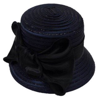 Swan Hat Women's Large Navy/ Black Satin Bow Hat