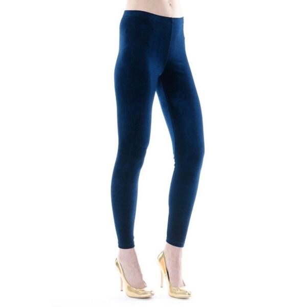 Women's Jasmine Blue Velvet Leggings