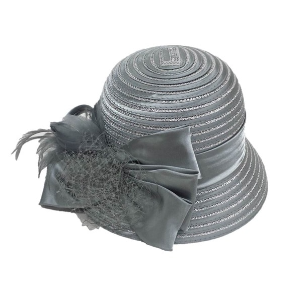 Swan Hat Women's Silver Grey Large Satin Bow with Feathers Hat