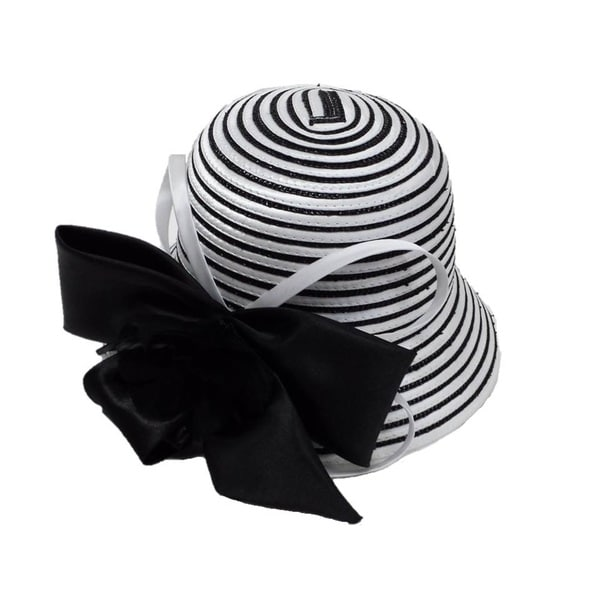 Swan Hat Women's White/ Black Hat with Large Satin Bow and Feathers