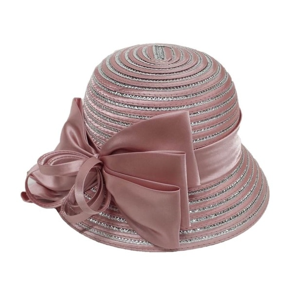 Swan Hat Women's Pink/ Silver Large Satin Bow Hat