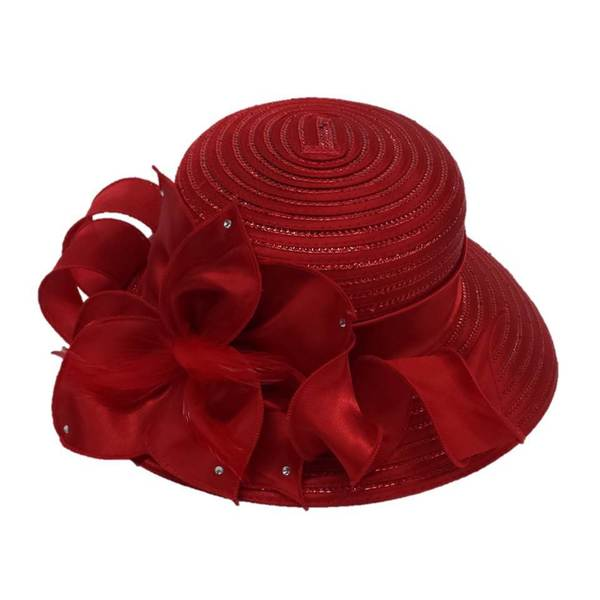Swan Hat Women's Red Large Satin Bow Hat with Feathers