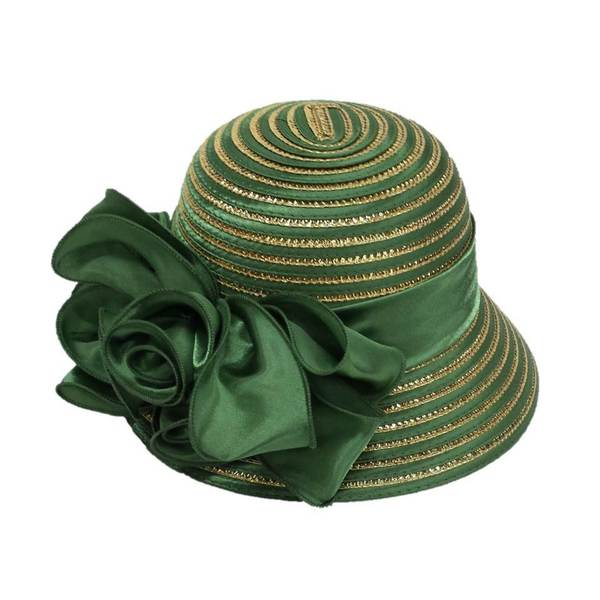 Swan Hat Women's Green/ Gold Large Satin Bow Hat