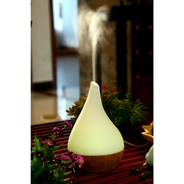 Canary Products Glass and Bamboo Aroma Diffuser and Ultrasonic Cool Mist Humidifier with LED lights 16382315