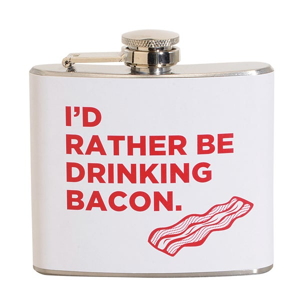 I'd Rather Be Drinking Bacon Fun 5-ounce White Party Flask