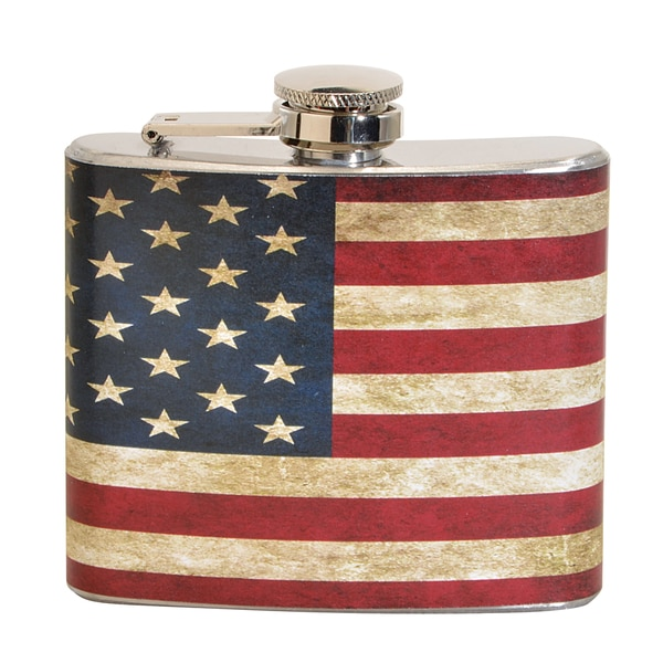 Vintage USA Flag Fun 5-ounce Multi-color Party Flask