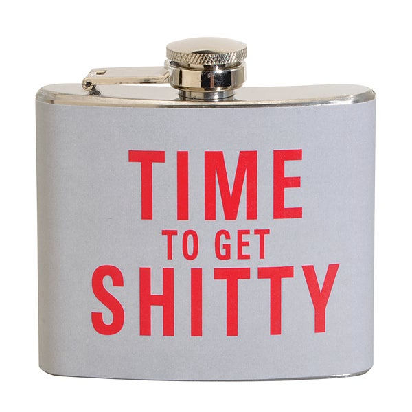 Time To Get Shitty Fun 5-ounce Grey Party Flask
