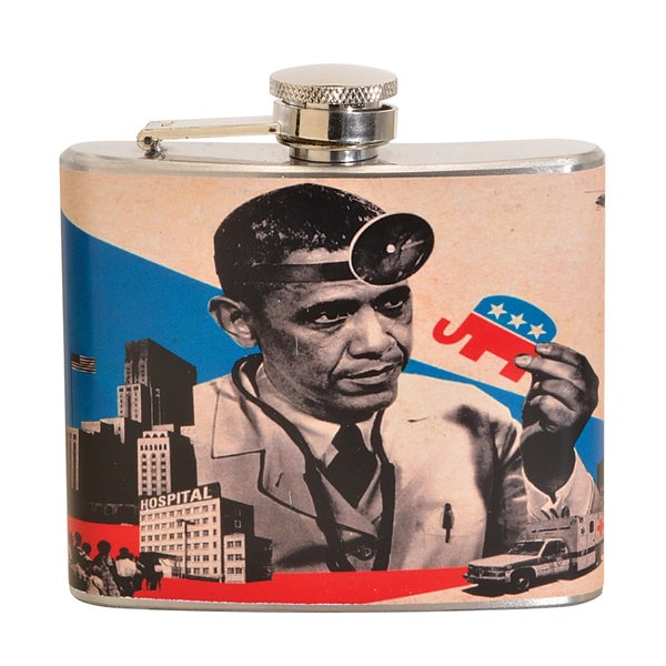 Obama Fun 5-ounce Beige Party Flask