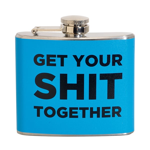 Get Your S*** Together Fun 5-ounce Blue Party Flask