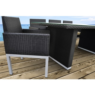 SOLIS Tuum Outdoor Black 9-piece Wicker Rattan Patio Dining Set