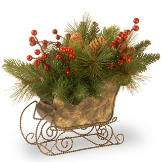 """10"""" Decorative Collection Long Needle Pine Cone Sleigh"""