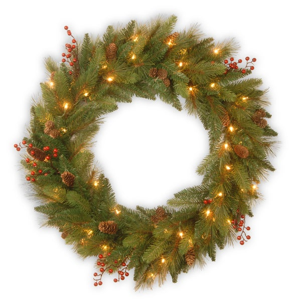 """24"""" Decorative Collection Long Needle Pine Cone Wreath"""