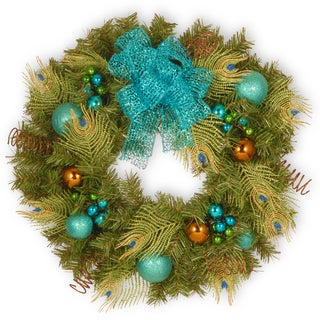 "24"" Decorative Collection Peacock Wreath"
