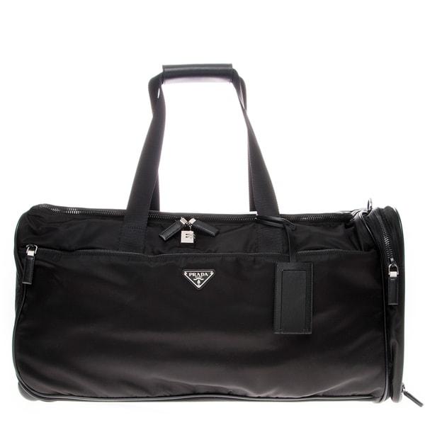 prada handbags discount prices - Prada Nylon and Leather Trolley/ Duffle Bag - 17699634 - Overstock ...