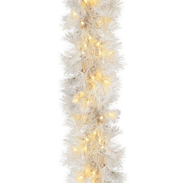 9 ft. Wispy Willow White Garland with Clear Lights