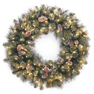 "30"" Glittery Pine Wreath with Clear Lights"