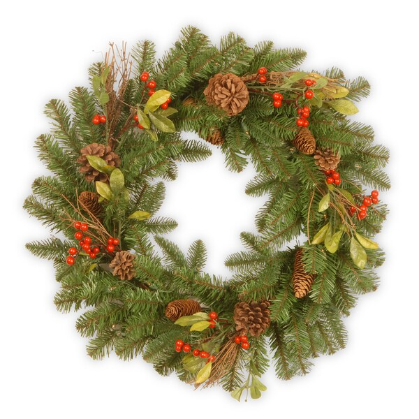 "24"" Decorative Collection Berry Leaf Wreath"