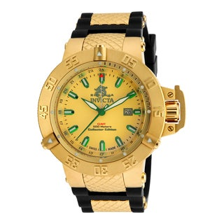 Invicta Men's 13921 Subaqua Quartz 3 Hand Gold Dial Watch
