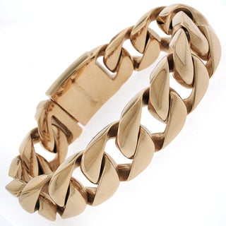 Rose Goldplated Stainless Steel Men's Thick 8.5-inch Cuban Bracelet