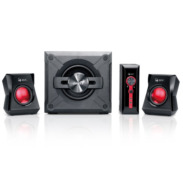 Dual Black/ Red Bluetooth Gaming Speakers with Subwoofer