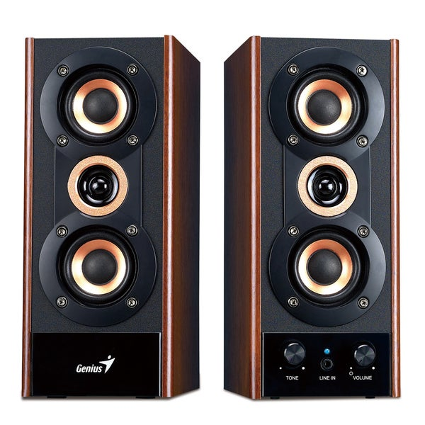 Dual 3-way Bluetooth Wooden Hi-Fi Speakers