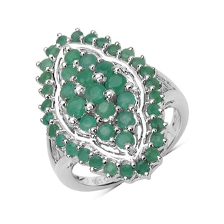 Malaika .925 Sterling Silver 1.73 Carat Genuine Emerald Ring