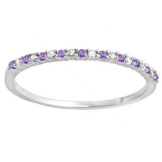 14k White Gold 1/6ct TDW Round Amethyst & White Diamond Anniversary Wedding Band Stackable Ring (I-J & Purple, I2-I3 & I1-I2)