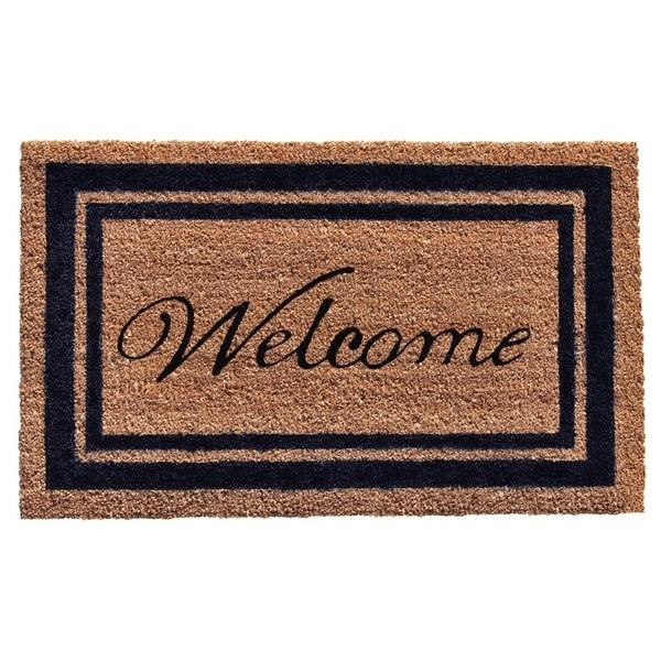 Dark Blue Border Welcome Doormat (2' x 3')