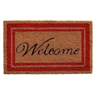 Red Border Welcome Doormat (2' x 3')