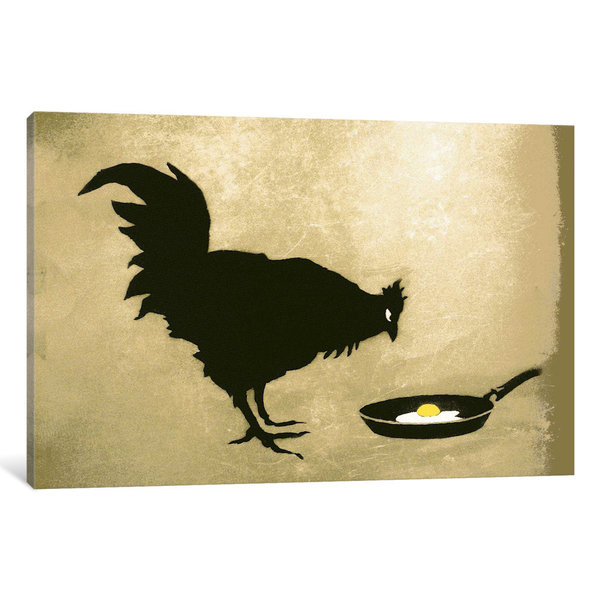 iCanvas Chicken & Egg by Banksy Canvas Print