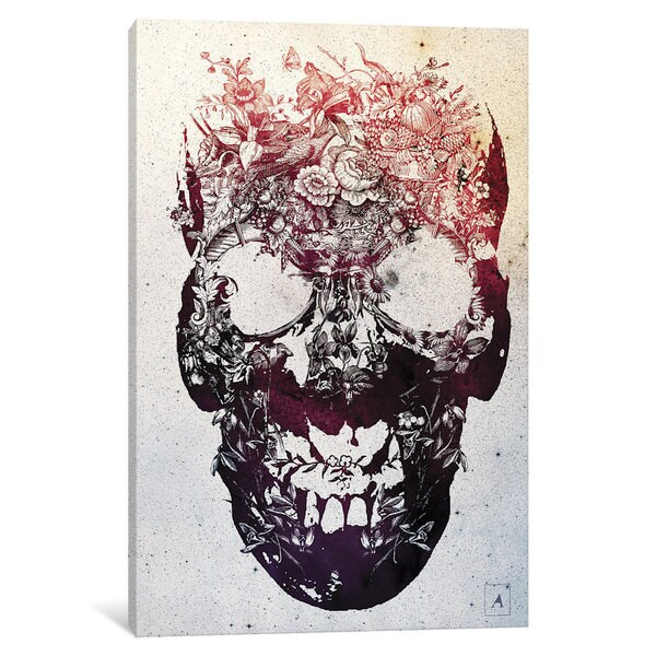 iCanvas Floral Skull by Ali Gulec Canvas Print