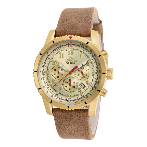 Invicta Men's 18925 Aviator Quartz Chronograph Gold Dial Watch