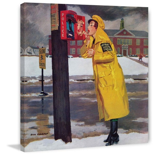 "Marmont Hill - ""Crossing Guard Fixing Her Makeup"" by Richard Sargent Painting Print on Canvas"