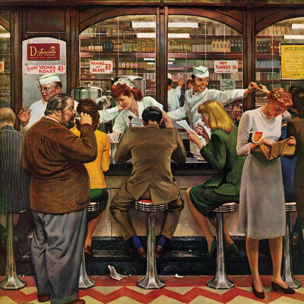 "Marmont Hill - ""Lunch Counter"" by John Falter Painting Print on Canvas"