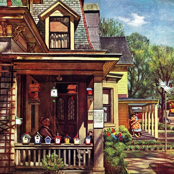"Marmont Hill - ""Birdhouse Builder"" by John Falter Painting Print on Canvas"