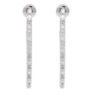 1/4ct TDW Diamond Sterling Silver Hoop Earrings (J-K, I3)