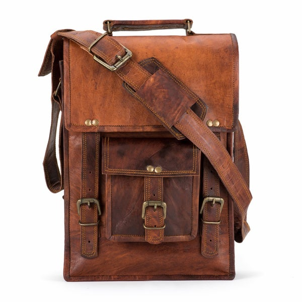 North South Leather Messenger Bag