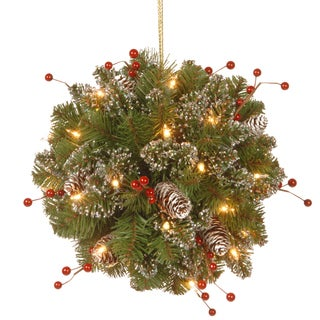 12-inch Glittery Mountain Spruce Kissing Ball with Battery Operated Warm White LED Lights