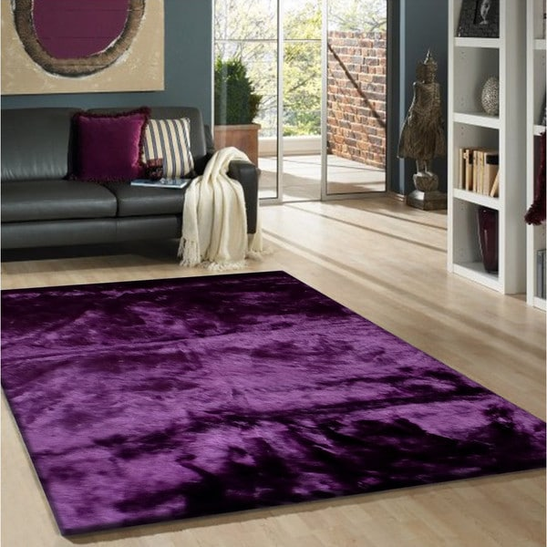 Purple Faux Fur Sheep Skin Shag Area Rug (5' X 7