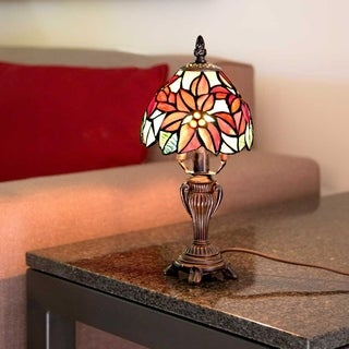 River of Goods 12.5-inch Tiffany Style Stained Glass Poinsettia Accent Lamp