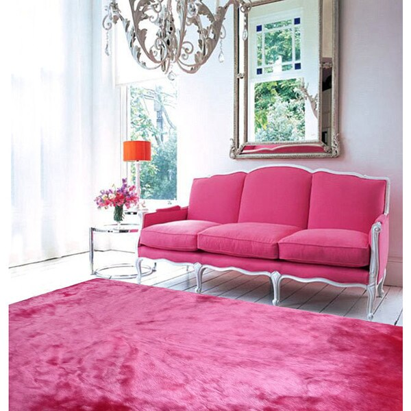 Pink Faux Fur Sheep Skin Shag Area Rug (5' X 7