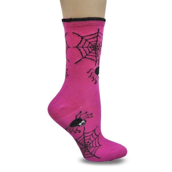Women's Pink Spider Web Crew Socks